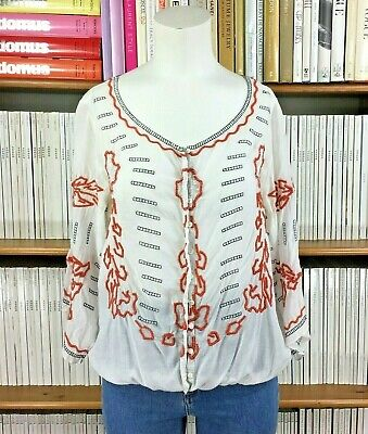 FREE PEOPLE top blouse shirt embroidered gypsy peasant lace coral 10 12 US 6 8