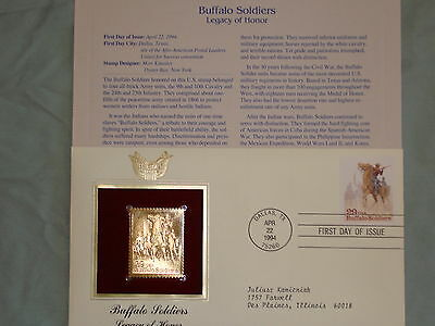 22K Gold 1994 Buffalo Soldiers U.S. Army Proof Stamp Replica 1st Day Cov w/Addrs
