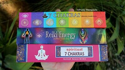 CHAKRA INCENSE VARIETY PACK~ 15gms x 3 Wicca Smudge Yoga Ritual Meditation Gift