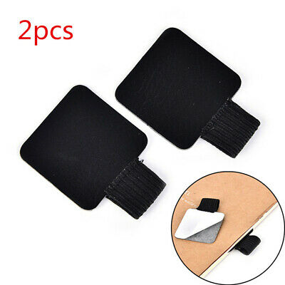 x2 Self-adhesive Leather Pen Clip Pencil Elastic Loop for Notebooks Pen Holder ♫