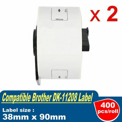2 Roll Compatible with Brother DK-11208 Address Label 400pcs/Roll 38mm x 90mm