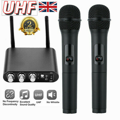 UHF Professional Wireless Bluetooth Dual Handheld Microphone Karaoke Mic System