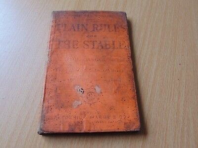 Rare H/B Book 1866 Plain Rules For The Stable Horse Book