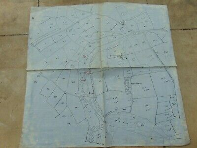 ANTIQUE MAP c1930 HAND DRAWN ON BLUE CLOTH BIGGIN GRANGE BUXTON DERBYSHIRE