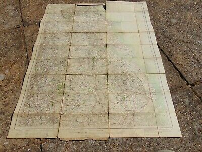 Antique Cloth Map Ordnance Survey Yorkshire Lincolnshire 1914 1/4 Inch To Mile