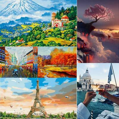 Frameless DIY Scenic Oil Painting Kit Paint by Numbers Funny 40x50cm Colorful