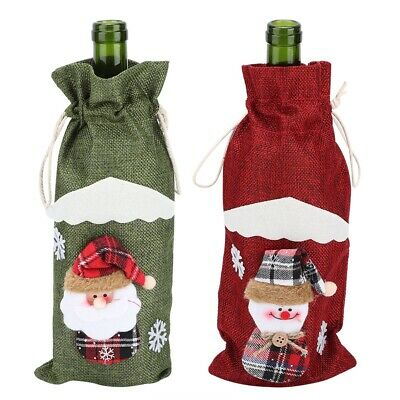 Durable Red Wine Bottle Cover Drawstring Bag Christmas Theme Decoration Supplies