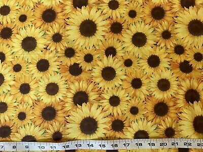 Yellow FQ Fat Quarter Fabric Sunflower 🌻 Flowers RARE 100% Cotton Quilting