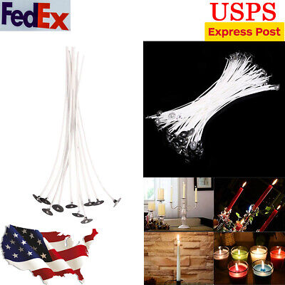 100pcs Candle Wicks Low Smoke Cotton Core Pre Waxed Candle Wicks with Sustainers