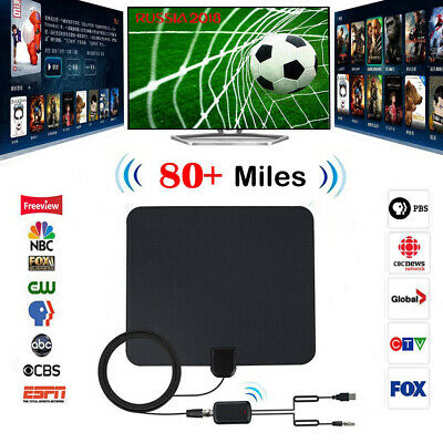 TV Antenna Digital Indoor Aerial HD Freeview Signal Amplified Thin HDTV 80 Mile