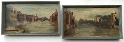 2 x Original 19th Century Antique Oil Paintings York Bridge River Ouse Landscape