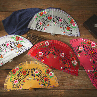 5 Colors Spanish Style Woman Folding Hand Held Dancing Painted Flower Fan Wood