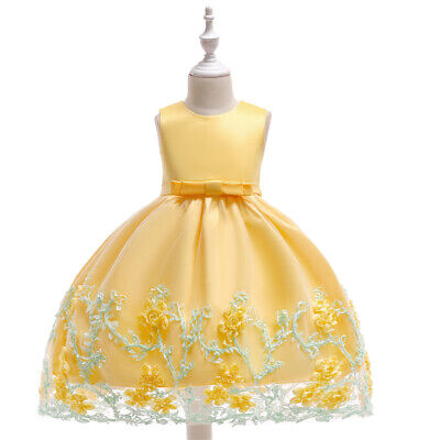 Princess Dress Party Girls Child Sleeveless Big bow Flower Evening Wedding Dress
