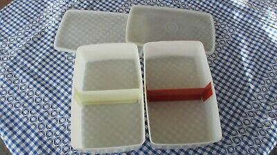 Vintage Tupperware Pak n Stor x 2 70s,white,1.3 litres,with divider inserts