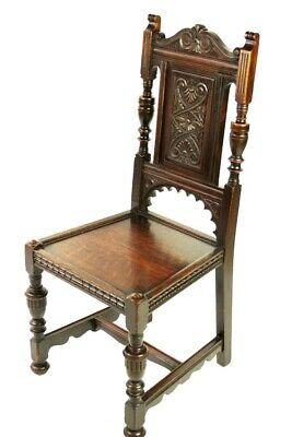 Antique Victorian Carved Oak Hall Chair by James Shoolbred [5458]