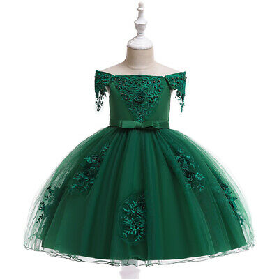 Princess Flower Dress Girls Baby Children's Wedding Bridesmaid Party Tutu Dress
