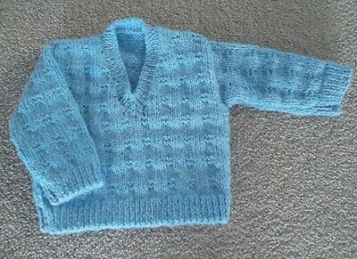NEW Hand Knitted Boy's V-Neck Jumper - Birth to 3 months.