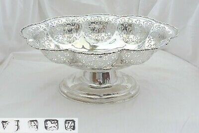 Rare George V Hm Sterling Silver Pierced Pedestal Fruit Bowl 1924