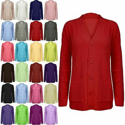 Women Ladies Grandad Cardigan Ladies Button Up Long Sleeve Chunky Cable Knit Top