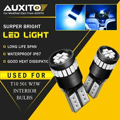 2x AUXITO T10 W5W 501 Canbus Blue LED Wedge License Side Parker Light Bulb