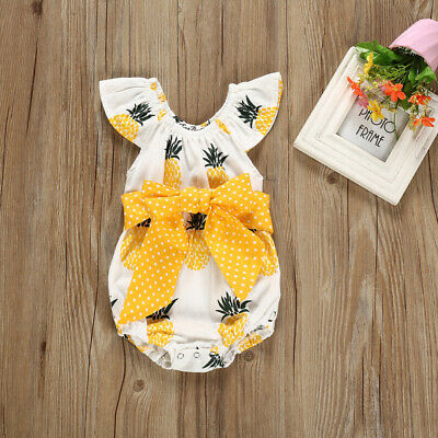 Fashion Sweet Newborn Baby Girl Bowknot Romper Bodysuit Jumpsuit Clothes Outfits