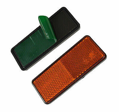 Pair of Self Adhesive Amber Oblong Rectangular Trailer Caravan Reflectors Orange