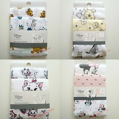 Primark Disney Baby Girls Boys Muslin Square Unisex Cloth 3 Pack Gift