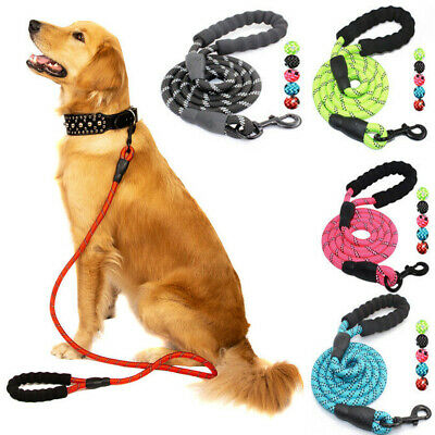 Dog Leash 5FT Strong Climbing Rope Reflective Thread Night Safe Padded Handle