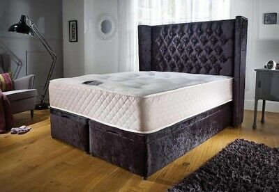 LUXURY SPECIAL 60 INCH WING BACK HEADBOARD WITH OTTOMAN GAS LIFT Double size