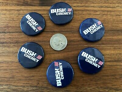 6 George Bush Dick Cheney Election Presidential Buttons Pinback Free US Shipping