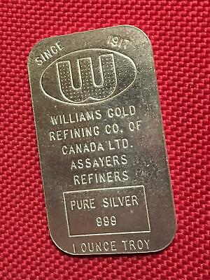 1 oz Williams Gold Refining Co of Canada 1 oz 999 Fine Silver Bar - Scarce!