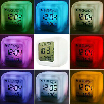 LED Colorful Digital Alarm Clock Illuminated Colour Changing For Camping Parts