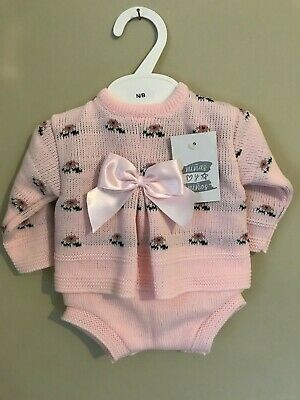 Newborn Baby Girl Spanish Pink Knitted Bow Jumper & Jam Pants Outfit Set 0-6 Mon