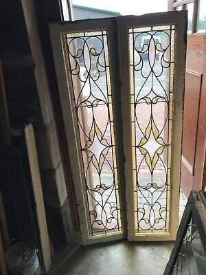 Sg 3012 2 Av Price each antique stained glass transom window 15 x 16.5