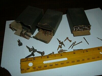 3boxes Rose head nails & skinny nails & round head tacks antique old vtg rustic