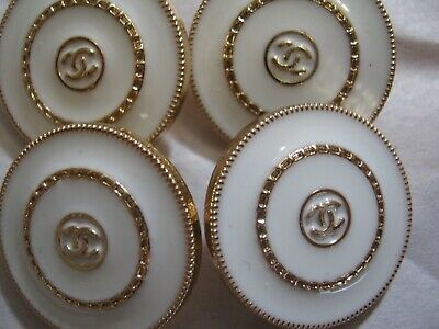 Chanel cc buttons matte gold white 18mm lot of 4 good condition