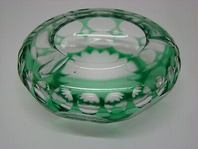 "Medium Green Glass Cut to Clear Lead Crystal Ashtray Dots 4 3/4"" wide #GA59"