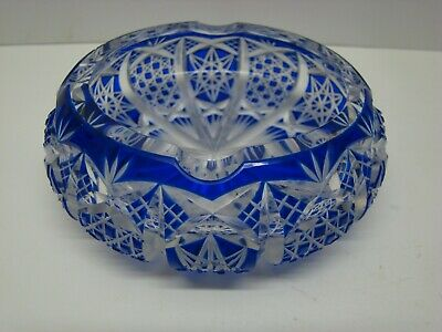 "Cobalt Blue Glass Deep Cut to Clear Lead Crystal Ashtray Stars 4 1/2"" wide #GA60"