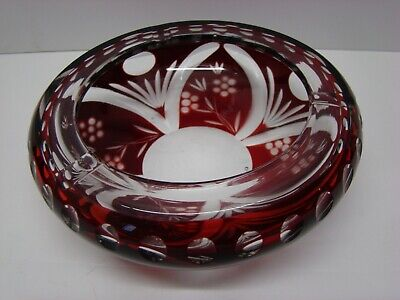 "Cranberry Glass Cut to Clear Lead Crystal Ashtray 6"" Flowers and Dots #GA57"
