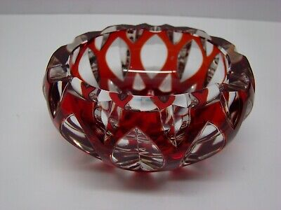 "Ruby Red Hand Cut Thick Glass Cut to Clear Lead Crystal Ashtray 4 1/2"" wide GA63"