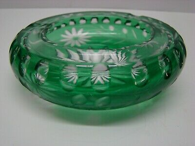 "Green Glass Hand Cut Cut to Clear Lead Crystal Ashtray Daisy 5"" wide #GA64"