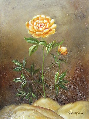 """Lone Yellow Rose Original Hand Painted 12""""x16"""" Oil Painting Floral Art"""