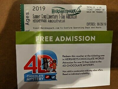 2 Hershey Park Tickets + BONUS 1- 4D Movie
