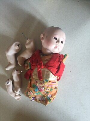 """vintage Oriental Asian Japanese Chinese porcelain Jointed Doll 9"""" Rare"""
