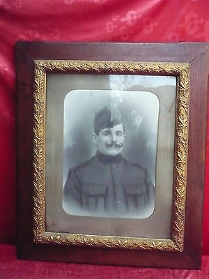 Very Old Picture __ Large, Portrait - __Soldier__Beautiful Antique Frame
