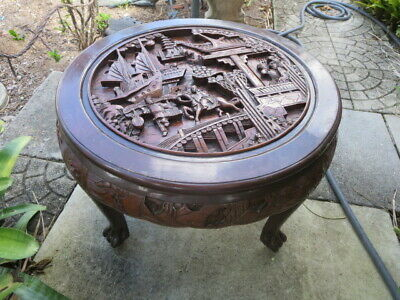 Vintage Chinese Wood  hand carved Tea Coffee Side table