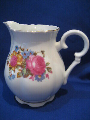 Milk/Cream Jug, White With Flowers, 'Yamasan China' Made In Japan. Pre-Loved