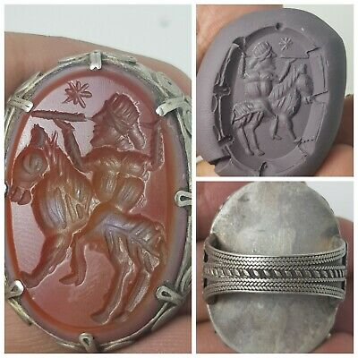 Very beautiful old medieval old agate intaglio pure solid silver ring