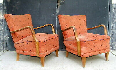 Art Deco Cocktail Chairs. Armchairs, Club Chair 1920s Vintage Antique Halabala
