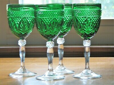 Cris D'Arques ANTIQUE Cut Glass Green Water Goblets w/ Clear Stem - Set of 4